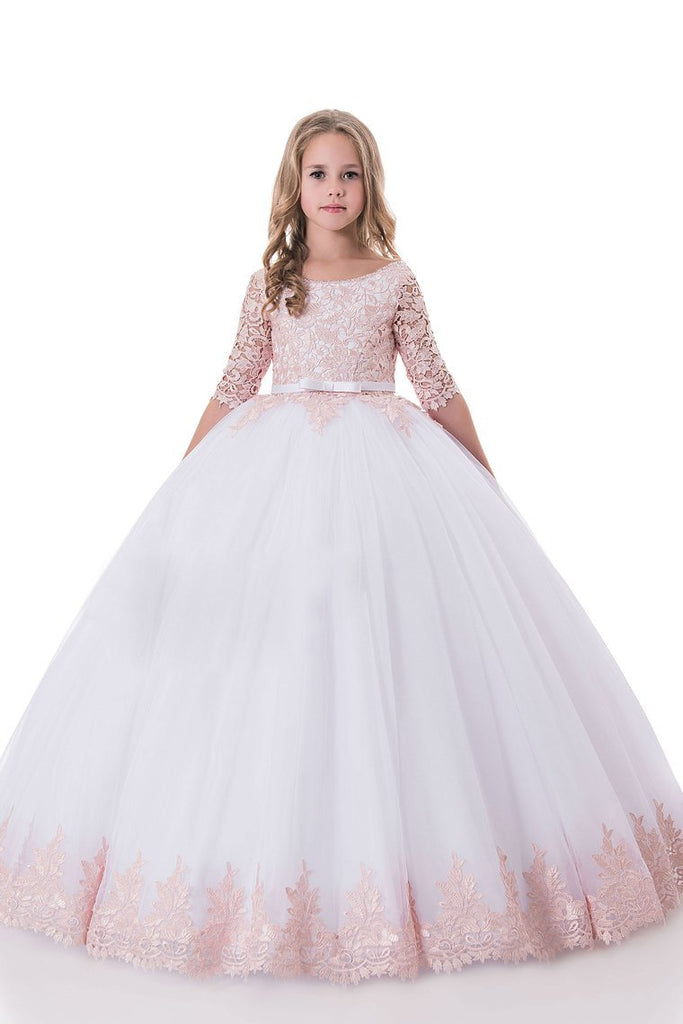 Scoop Ball Gown Mid-Length Sleeves Tulle With Applique Flower