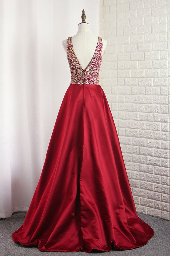 V Neck Satin Prom Dresses A Line With Beading Open Back Sweep