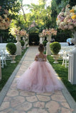 Blush Pink Spaghetti Straps Tulle A Line Flower Girl's Dresses Lace Applique Ruffles Floor Length Girl's Pageant Dresse