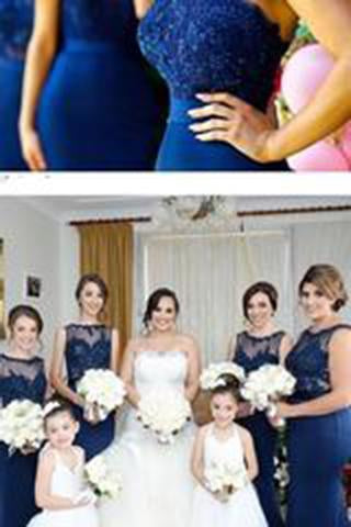 Stylish Halter Open Back Mermaid Navy Blue Bridesmaid Dress with Lace Beading JS613