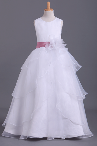 2019 White Flower Girl Dresses Ball Gown Scoop Floor Length