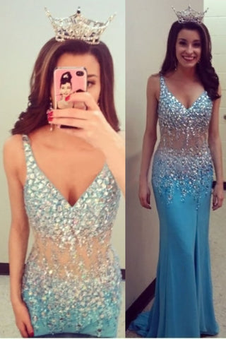 V-Neck Prom Dresses Column Beaded