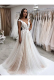 Timeless Lace Sparkly Sequins Tulle A-Line Wedding Dress With Appliques Wedding