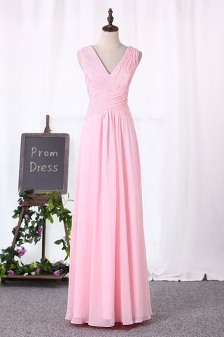 2021 Chiffon Bridesmaid Dresses A Line V Neck Ruched Bodice Floor