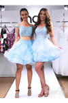 Two Pieces Beadings Homecoming Dress Off The Shoulder Appliques Organza Short