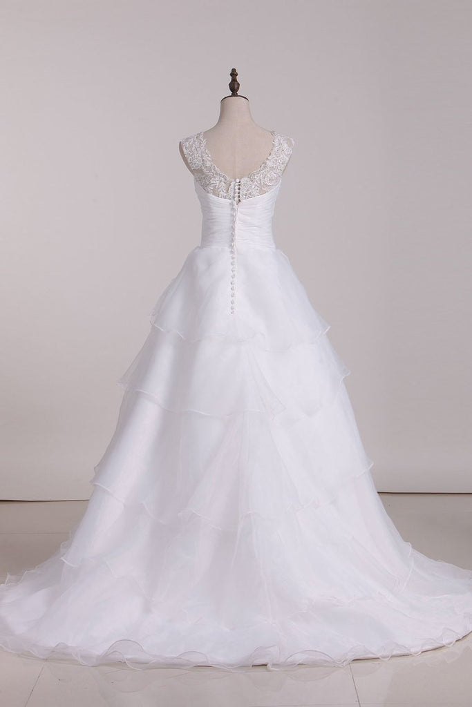 2020 A Line Off The Shoulder Organza Beads & Applique Wedding Dresses
