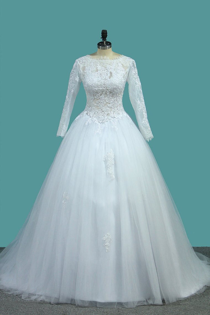 2020 Bateau Long Sleeves A Line Tulle Wedding Dresses With Applique Court