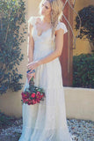 A-Line V Neck Floor Length Cap Sleeves Lace Beach Wedding Dresses, Boho Wedding Dresses