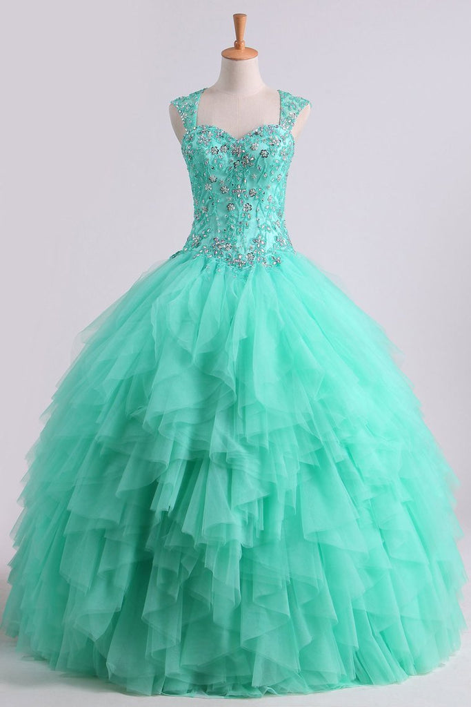 2020 Mint Sweetheart Floor Length Beaded Bodice Quinceanera Dresses Tulle Ball Gown