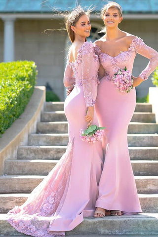 Mermaid Elastic Satin With Applique Off The Shoulder Long Sleeves Bridesmaid Dresses