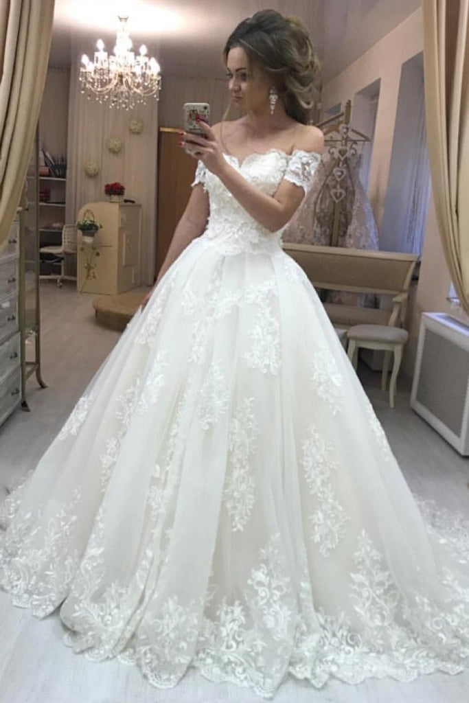 2021 Off The Shoulder A Line Wedding Dresses Tulle With Applique