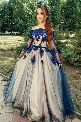 Unique Long Sleeve Off the Shoulder Tulle Long Prom Dresses, Appliques Blue Party Dresses SME15459