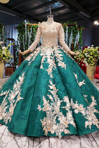 Ball Gown Long Sleeve Satin Beads Prom Dresses, Quinceanera Dresses with Appliques SME15059
