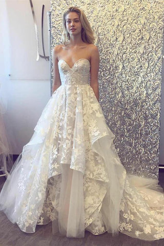 A-line 3D Lace Appliques V Neck Strapless Wedding Dresses Chapel Train Wedding Gowns JS924