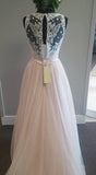 Pretty pink tulle lace v-neck A-line long dress prom dress for teens