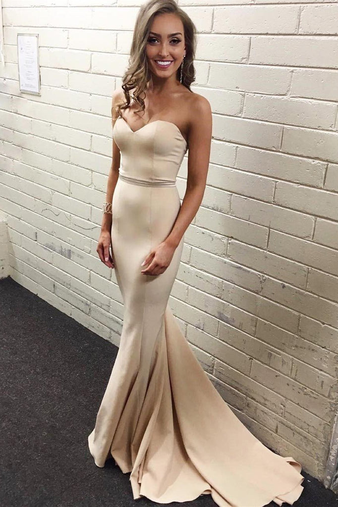 Simple Sweetheart Satin Mermaid Strapless Cheap Nude Long Pageant Prom Dresses JS97