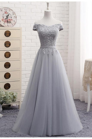 A-Line Gray Lace Off the Shoulder Tulle Lace-up Sweetheart Prom Dresses SME157
