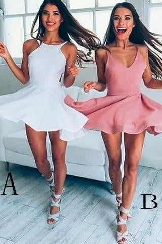 Sexy Cute A-Line Short Prom Dress with Straps Sleeveless Mini Graduation Dress H67
