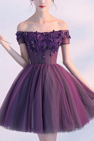 Cute A line Dark Purple Off-shoulder Short Sexy Appliqued Homecoming Dress with Beads SME173