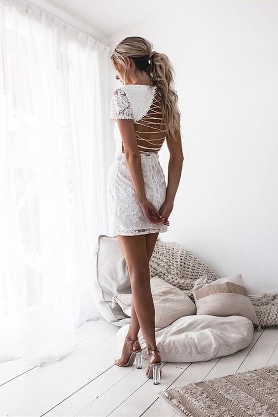 Sheath Round Neck Short Sleeves Lace-Up White Lace Short Natural Homecoming Dress JS296