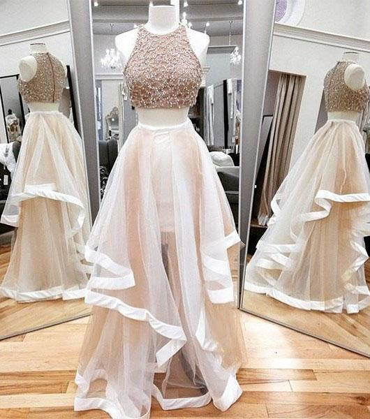 Sexy A-line Scoop Neck Tulle Beading Two Piece Halter Sleeveless Pink Prom Dresses JS635