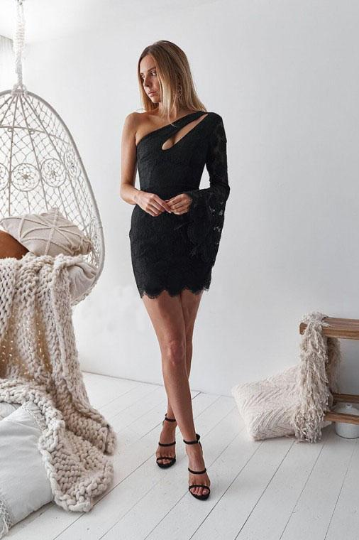 Sheath One Shoulder Bell Sleeves Short Black Lace Above Knee Homecoming Dresses JS21