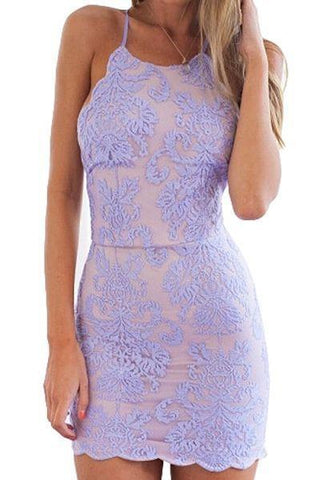 Sexy Sheath Lace Appliques Purple Criss Cross Scoop Above Knee Homecoming Dresses JS956