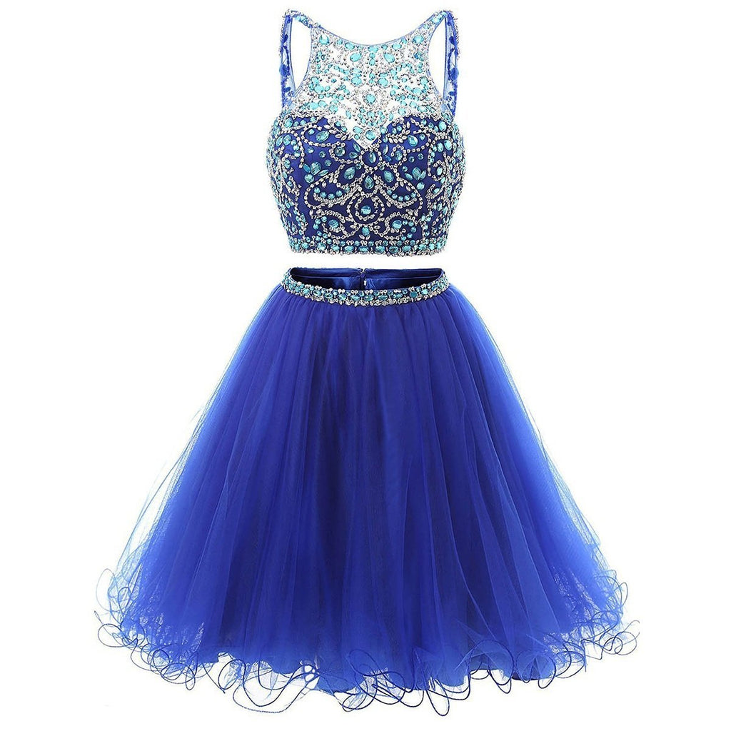 Jewel Neck Illusion Sequins Crystal Shining Two Piece Low Back Royal Blue Tulle Homecoming Dress JS877