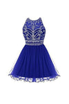 Royal Bule Tulle Short Bateau  Homecoming Dresses H23