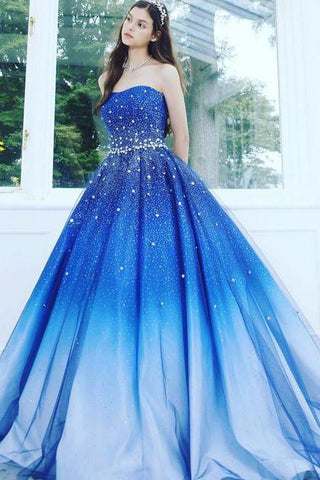 A Line Blue Strapless Sweetheart Ombre Sweep Train Ball Gown Beads Tulle Prom Dresses