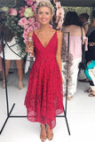 Simple A Line Red Deep V Neck Spaghetti Straps Asymmetrical Lace Bridesmaid Dresses JS989