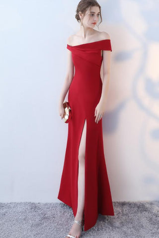 Simple Full Length Mermaid Sexy Off Shoulder Sleeves Slit Prom Dress JS323