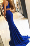 Royal Blue Long Mermaid Open Back Halter Slit Simple Cheap Prom Dresses JS194
