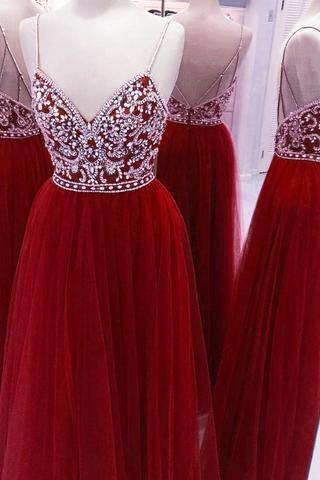 Spaghetti Straps Beading Handmade Long Evening Dress Formal Women Dress prom dresses uk Z104