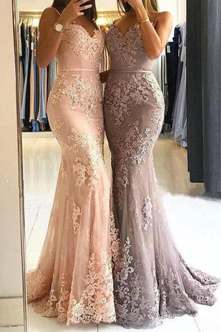 Unique Sweetheart Spaghetti Straps Lace Appliques Mermaid Long Prom Dresses JS115