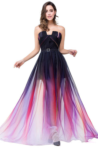 A-Line Ombre Sleeveless Strapless Open Back Long Gradient Chiffon Prom Dresses UK JS373