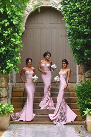 New Arrival Pink Spaghetti Straps Lace High Quality Mermaid Long Bridesmaid Dresses SME417