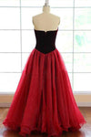 Strapless A-line Long V-Neck Tulle Burgundy Sleeveless Floor-Length Prom Dresses JS269