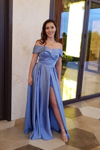 Unique A line Blue Off the Shoulder Sweetheart High Slit Satin Long Prom Dresses SME48
