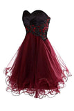 Lovely Cute Appliques Burgundy Sweetheart Organza Lace up Short Homecoming Dress JS689
