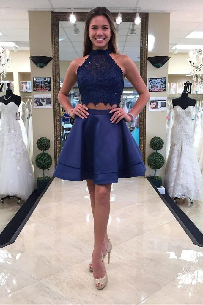 Two Piece Round Neck Short Tiered Satin Blue Open Back Homecoming Dress with Lace JS259