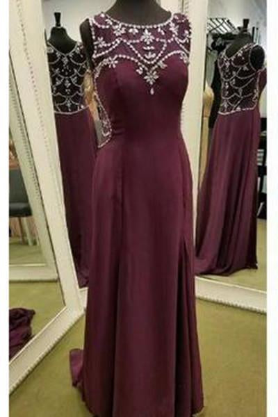 Modest Burgundy Sleeveless Long Chiffon Prom Dress JS388