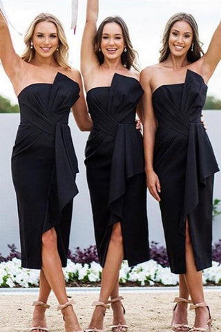 Black Strapless Sheath Tea Length Bridesmaid Dress, Unique Bridesmaid Dresses