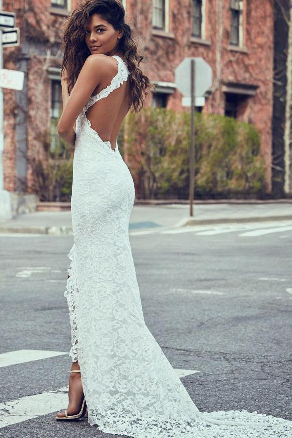 Sheath White Mermaid Round Neck Sweep Train Open Back Lace Wedding Dress with Split JS26