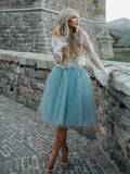 High Fashion Two-Piece Long Sleeves Homecoming Dress White Lace Top with Tutu Skirt JS122