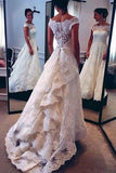 Vintage Lace Ivory Off the Shoulder Layers Skirt A-line Bridal Gowns Wedding Dresses JS152