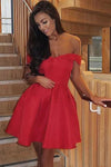 Simple Off the Shoulder Sweetheart Short Homecoming Dresses Burgundy Formal Dress H1139
