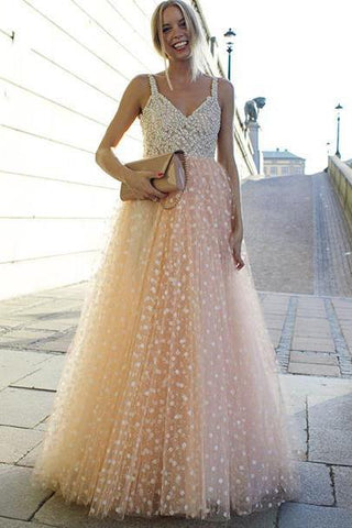 Sparkly A-line Pink Straps Beads Sweetheart Long Backless Appliques Prom Dresses JS636