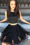 A Line Two Piece Square Short Black Knee Length Tulle Homecoming Dress with Appliques JS716