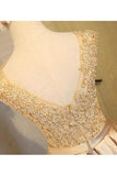 Light beads satins lace round neck homecoming dress JS384